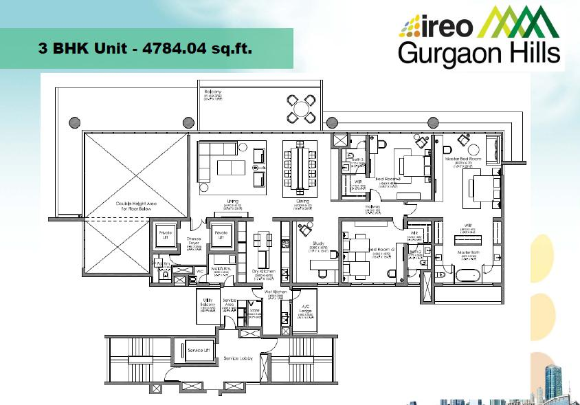 Ireo Gurgaon Hills 3 bhk floor plan