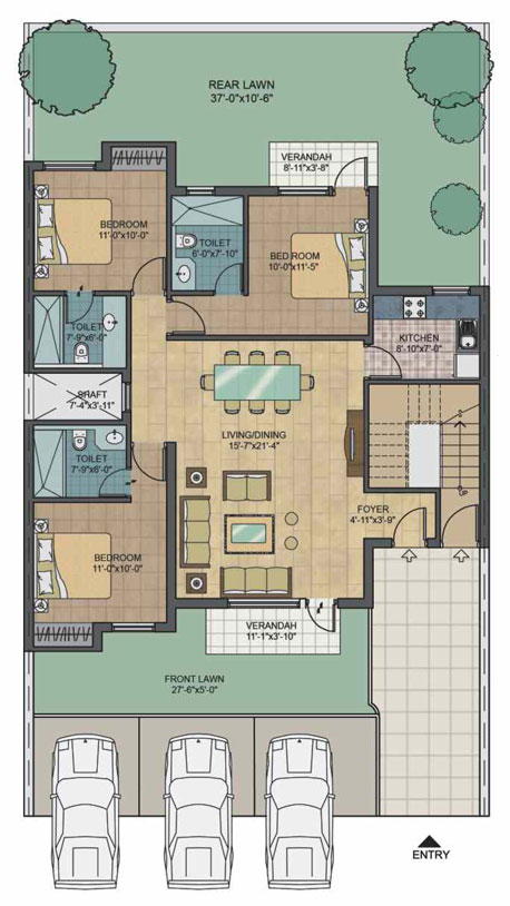 Unitech South City 3 bhk floor plan