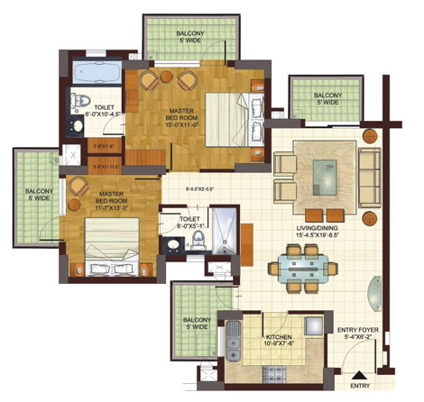BPTP Freedom Park Life 2bhk floor plan