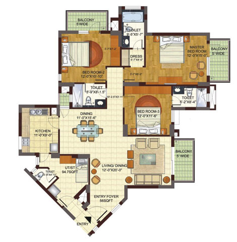 BPTP Freedom Park Life 3bhk floor plan