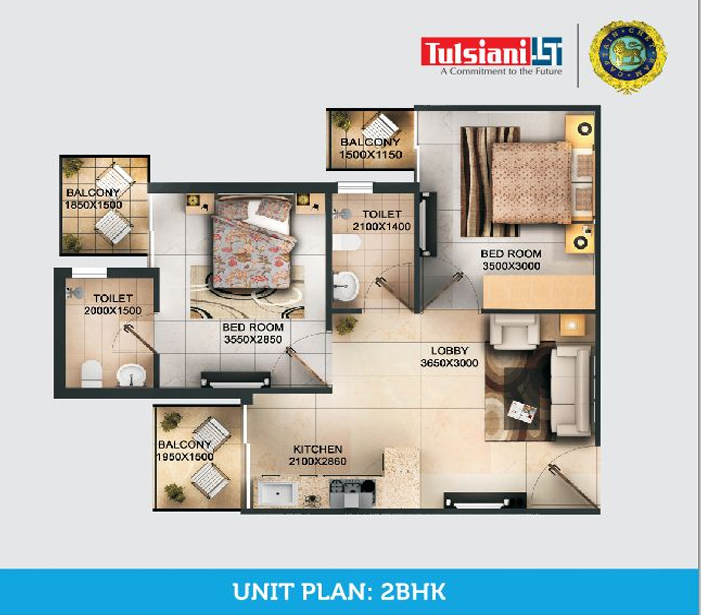 Tulsiani Easy In Homes 2 bhk floor plan