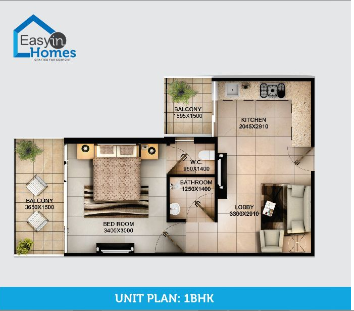 Tulsiani Easy In Homes 1 bhk floor plan
