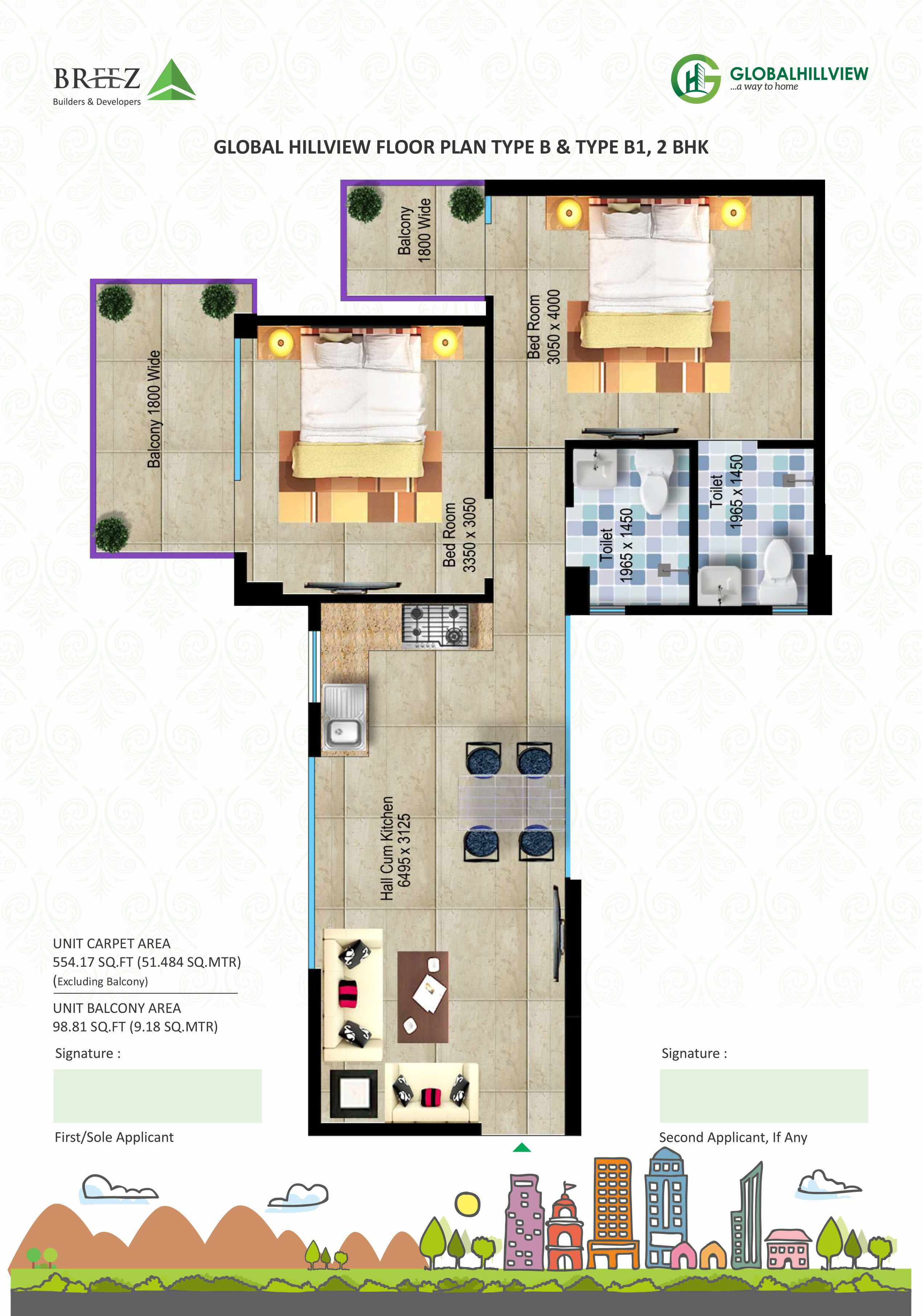 Global Hill View 2 bhk floor plan