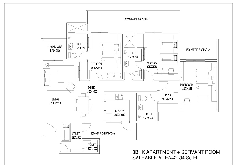 Central Park Flower Valley 3 BHK Floor Plan