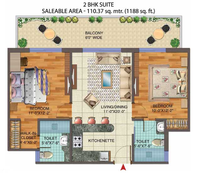 Central Park 2 BHK Floor Plan