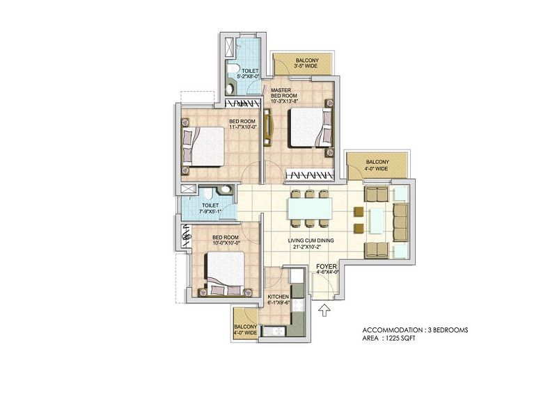 BPTP Spacio 3 BHK Floor Plan