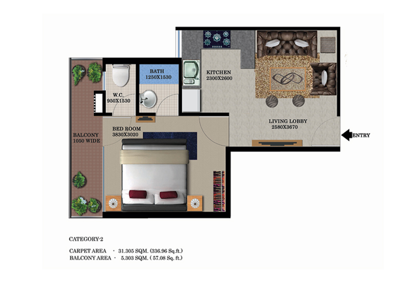 Global Heights 1 BHK Floor Plan