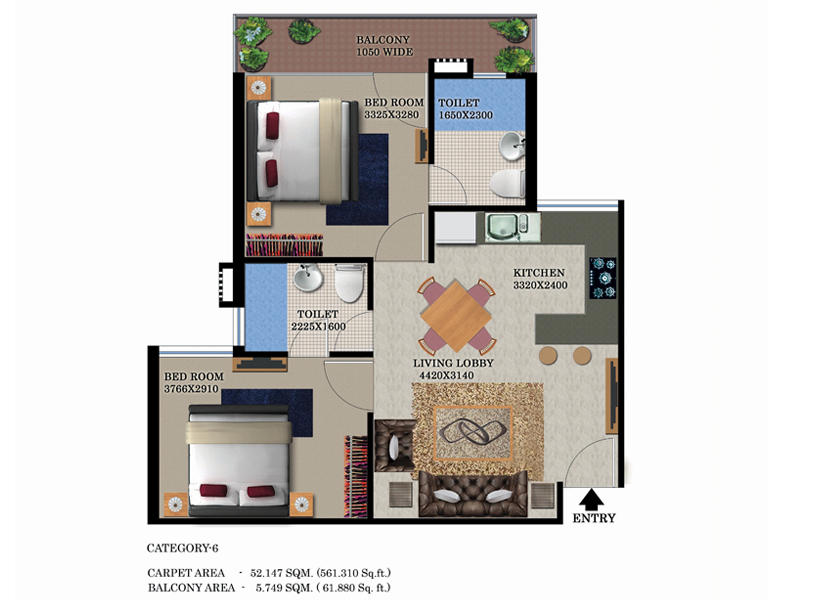 Global Heights 2 BHK Floor Plan