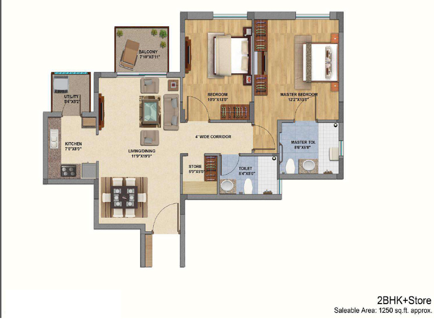 The Melia 2 bhk floor plan
