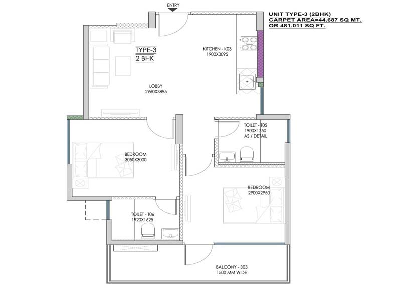 MVN Athens 1 BHK Floor Plan