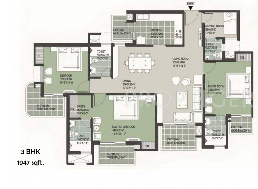 satya the hermitage 3 bhk floor plan
