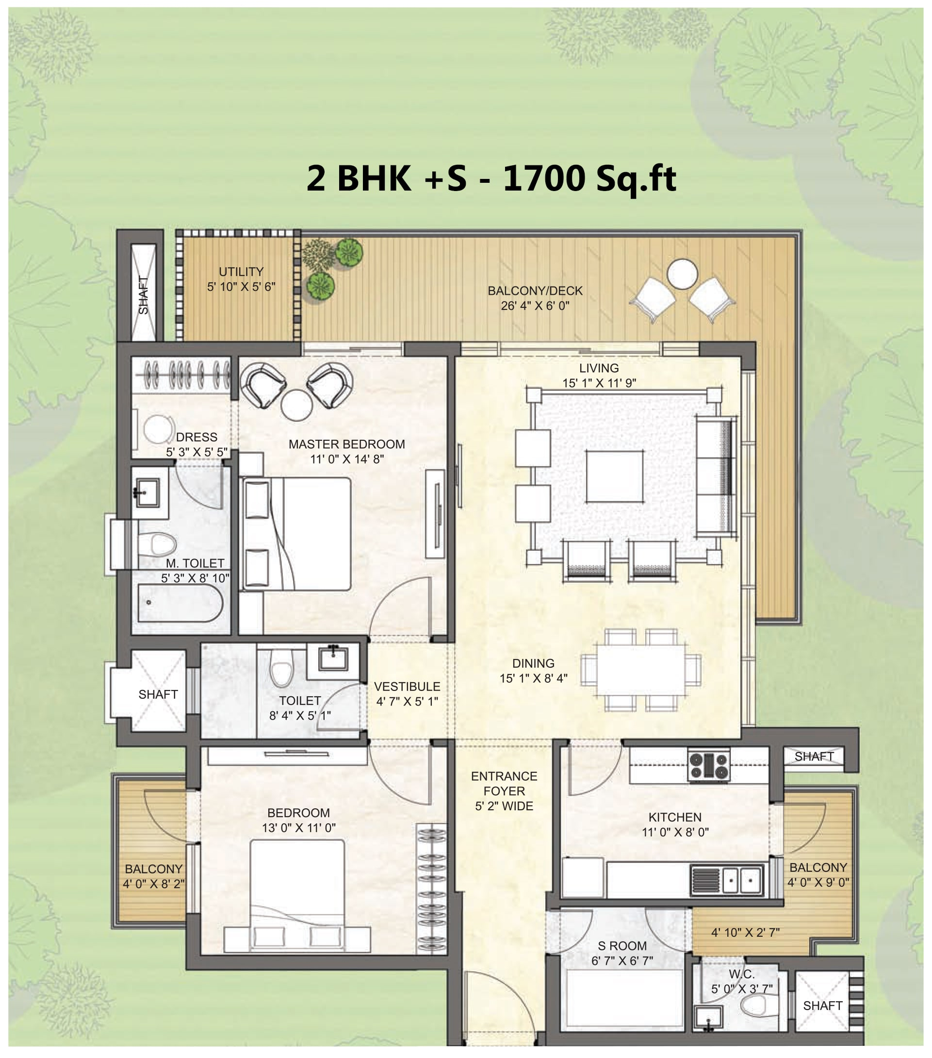2BHK +S -1700 Sq.Ft