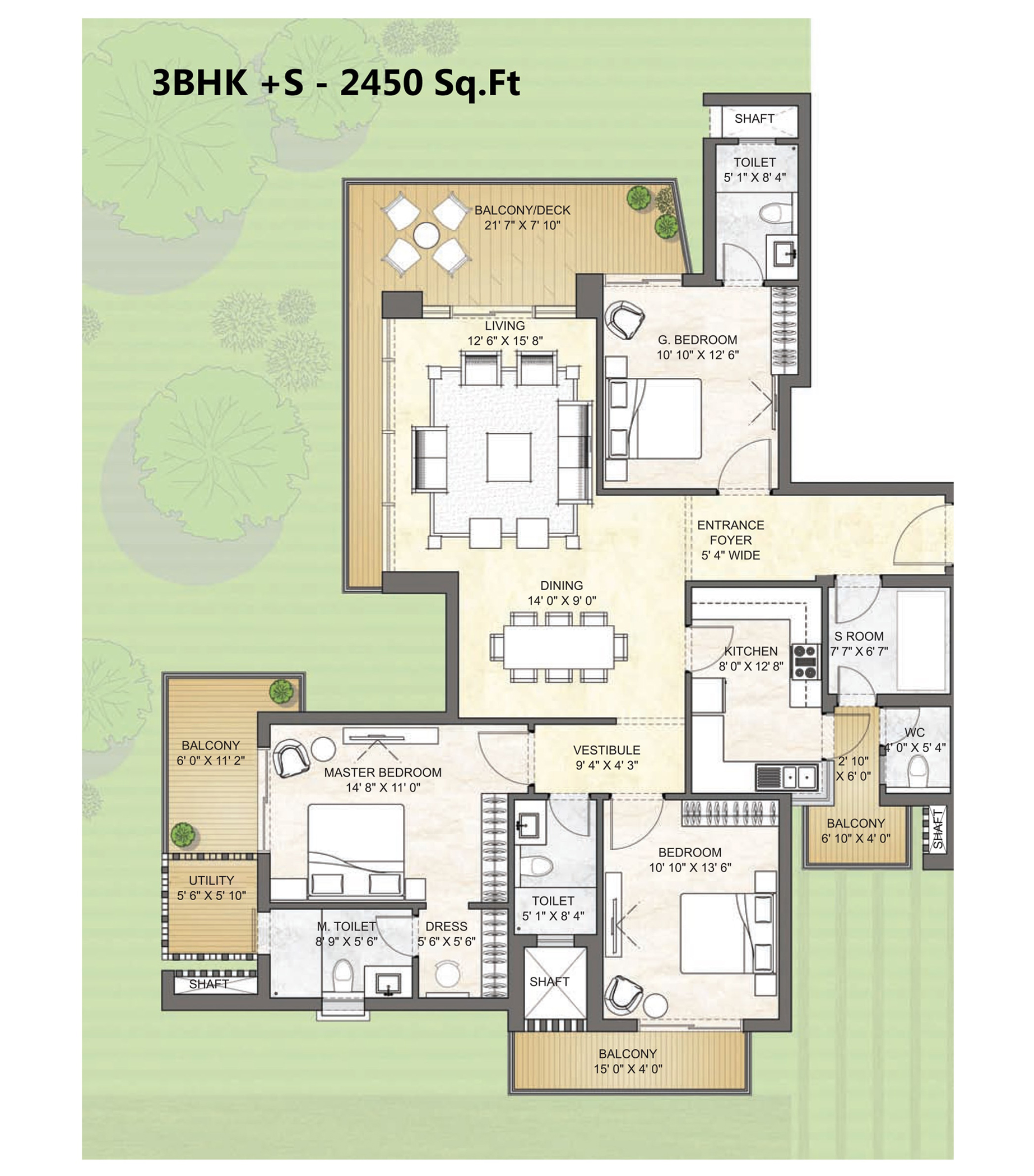 3BHK +S - 2450 Sq.Ft