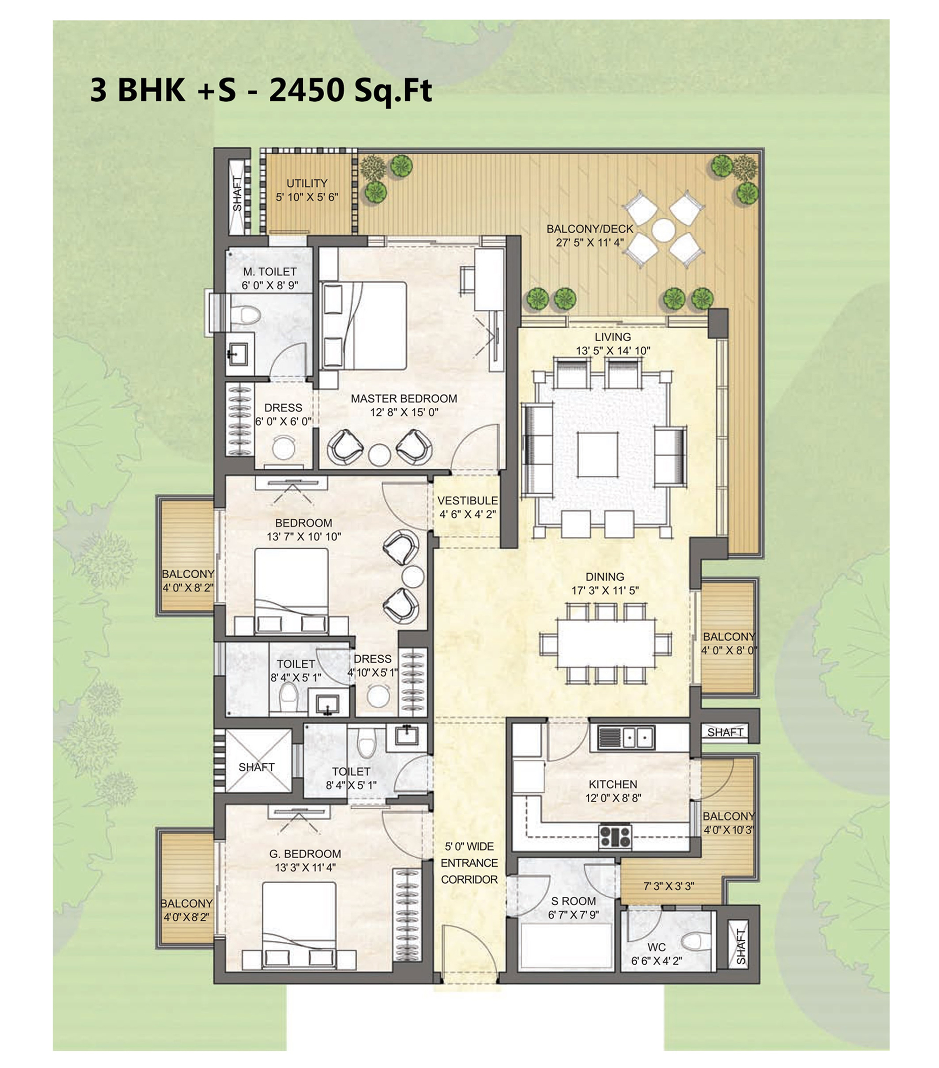 3 BHK +S - 2450 Sq.Ft