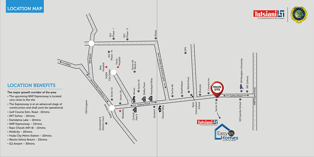 Tulsiani Easy in Homes Location Map