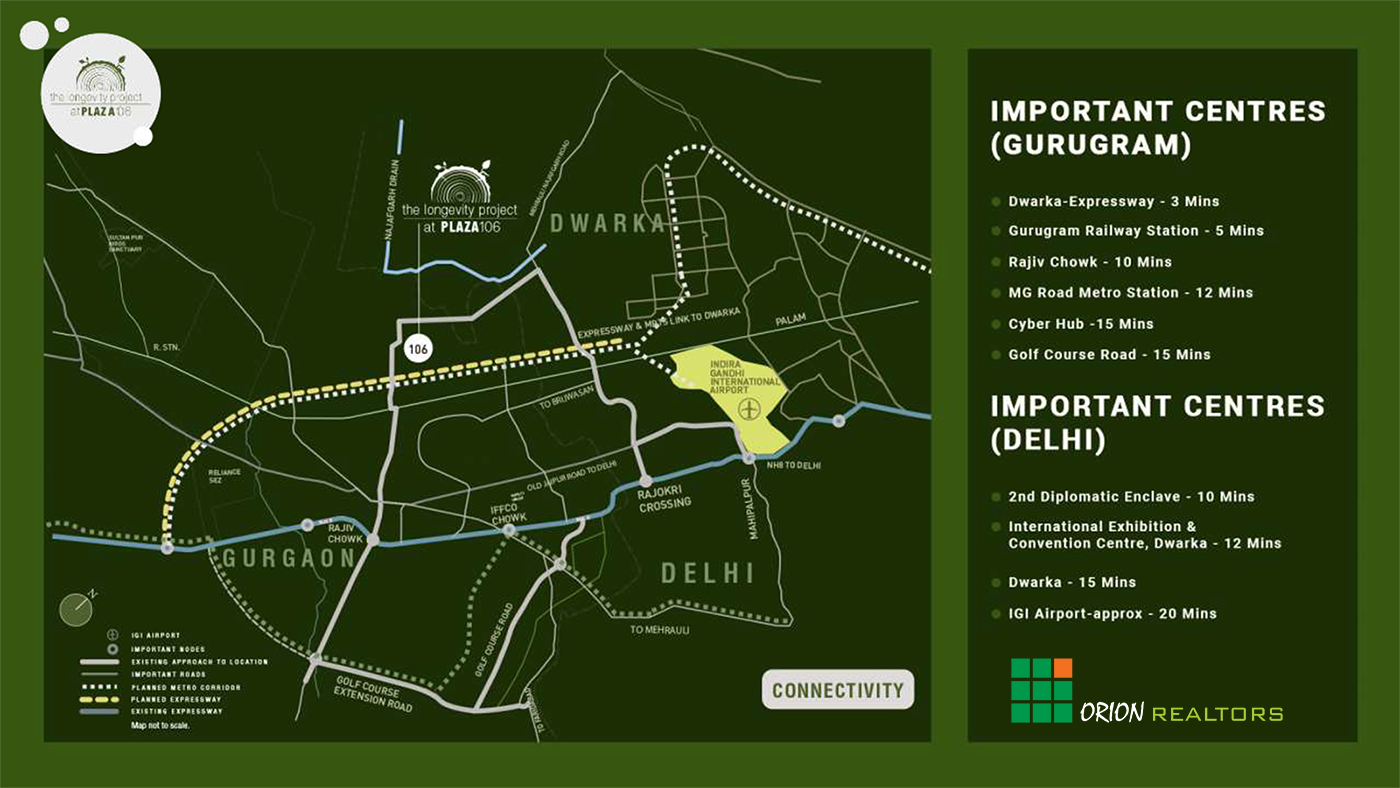 Studio Apartments on Dwarka Expressway Location Map